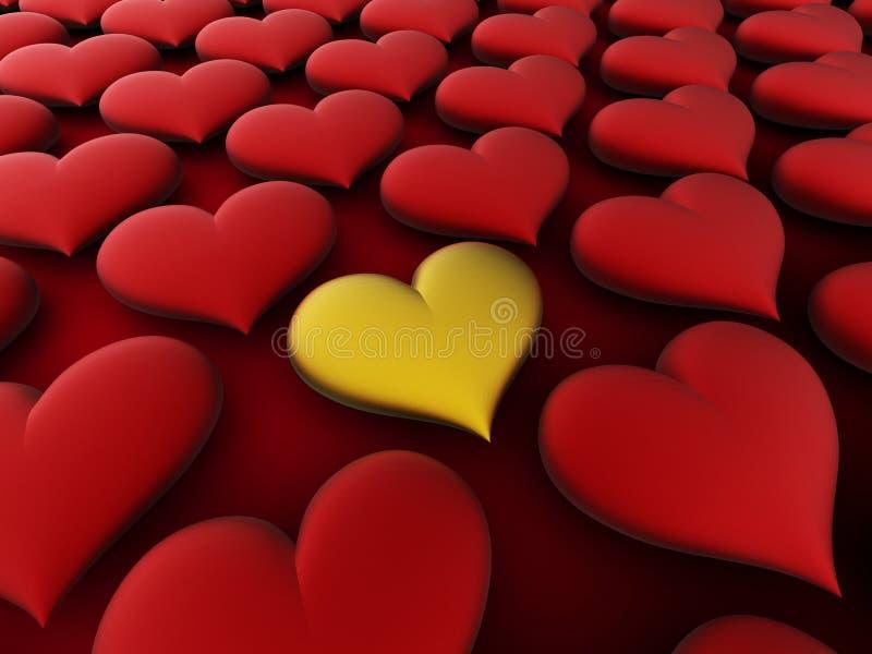 Golden love heart stock photo