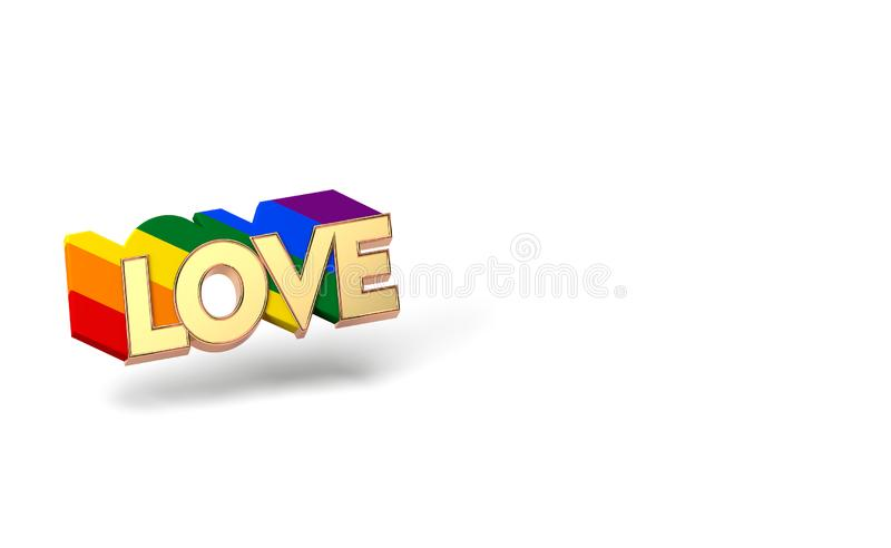 Golden LOVE word with rainbow outline. LGBTQ love symbol concept. Isolated on white background with copy space. 3D rendering. Golden LOVE word with rainbow vector illustration