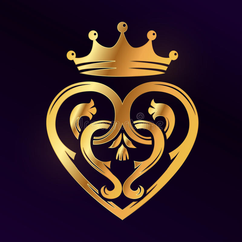 Free Golden Luckenbooth Brooch Vector Design Element. Vintage Scottish Heart Shape With Crown And Thistle Symbol Logo Concept Royalty Free Stock Photo - 76924265
