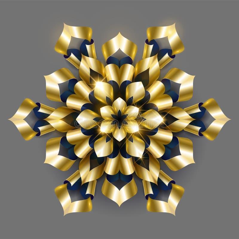Golden luxury background vector. Gold snowflake floral pattern design. Floral mandala ornament stock illustration