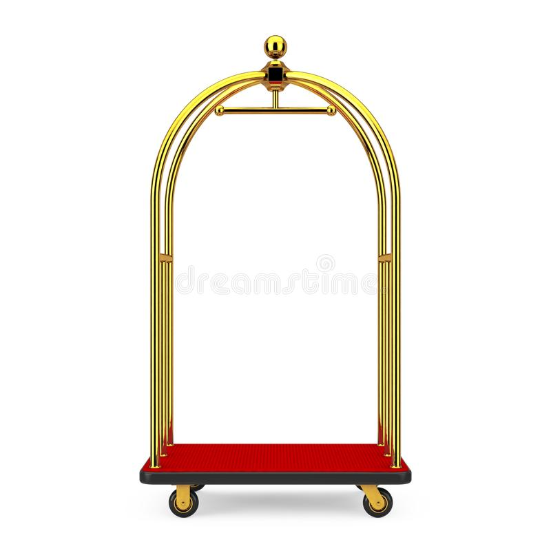 Golden Luxury Hotel Luggage Trolley Cart. 3d Rendering. Golden Luxury Hotel Luggage Trolley Cart on a white background. 3d Rendering royalty free stock images