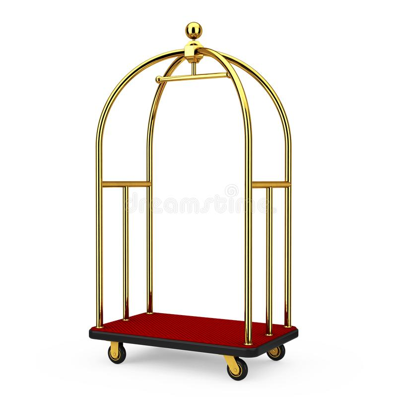 Golden Luxury Hotel Luggage Trolley Cart. 3d Rendering. Golden Luxury Hotel Luggage Trolley Cart on a white background. 3d Rendering royalty free stock photos