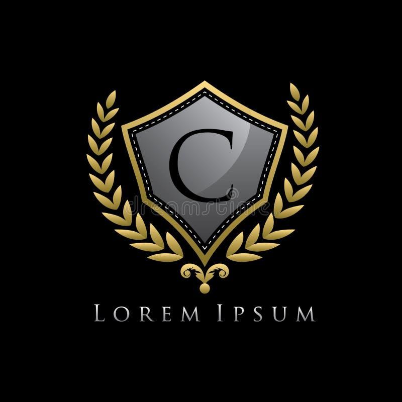Golden Luxury Shield C Letter Logo. royalty free illustration