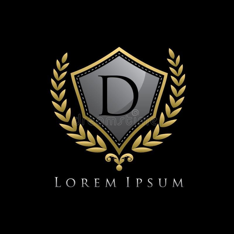 Golden Luxury Shield D Letter Logo. vector illustration