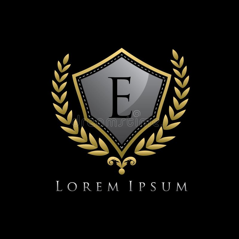 Golden Luxury Shield E Letter Logo. vector illustration