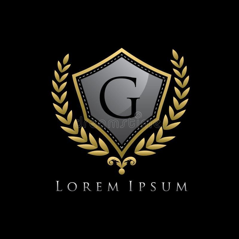 Golden Luxury Shield G Letter Logo. stock illustration