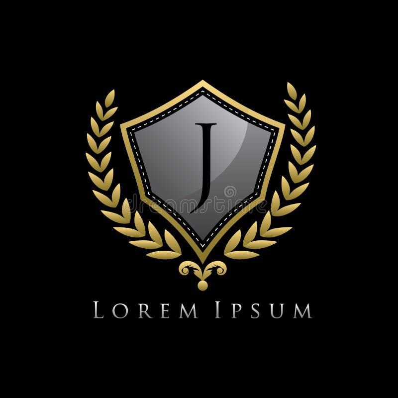 Golden Luxury Shield J Letter Logo. royalty free illustration