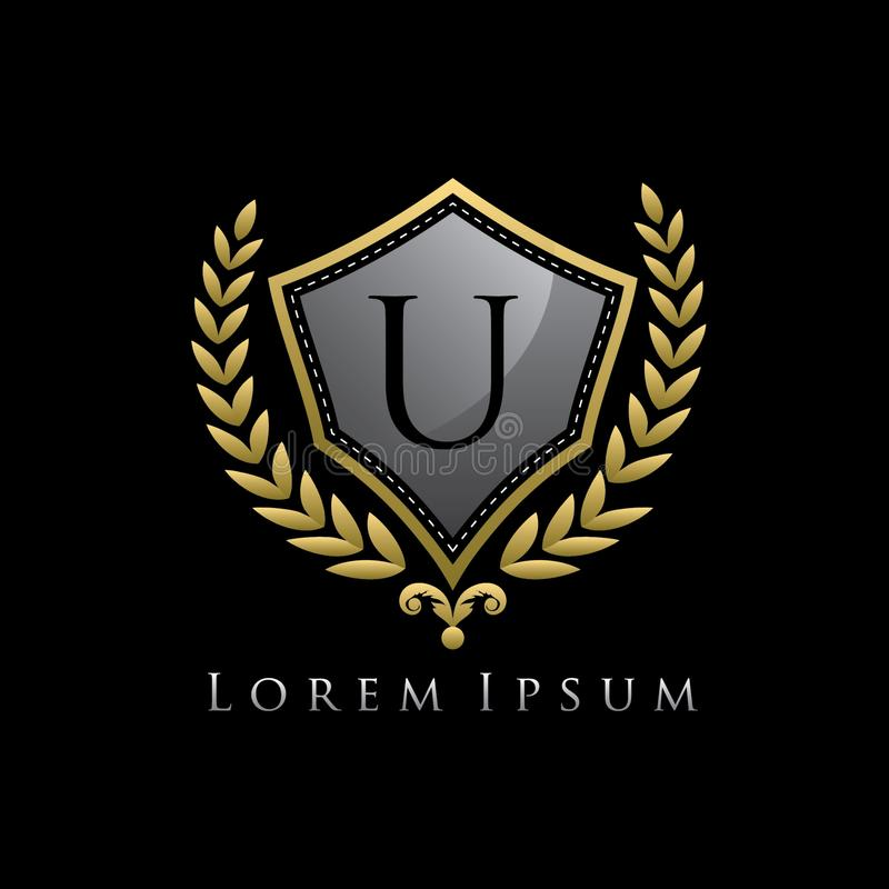 Golden Luxury Shield U Letter Logo. vector illustration