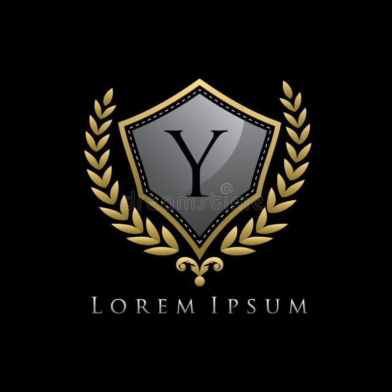 Golden Luxury Shield Y Letter Logo. royalty free illustration