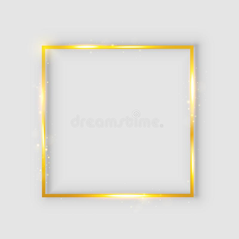 Golden luxury shiny glowing vintage frame with reflection and shadows. Isolated gold border decoration – for stock. Golden luxury shiny glowing vintage stock illustration