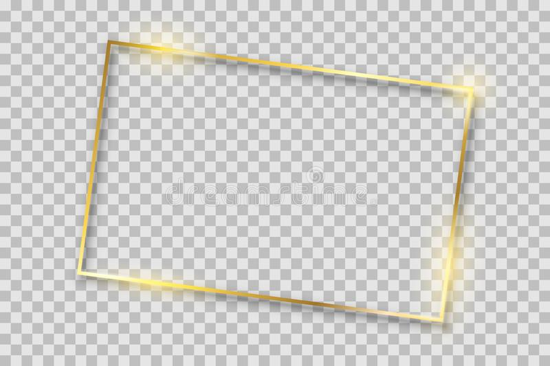 Golden luxury shiny glowing vintage frame with reflection and shadows. Isolated gold border decoration sign – for stock. Golden luxury shiny glowing stock illustration