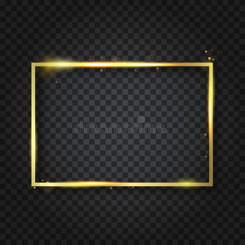 Golden luxury shiny glowing vintage frame with reflection and shadows. Isolated on transparent background gold border decoration. – stock vector vector illustration