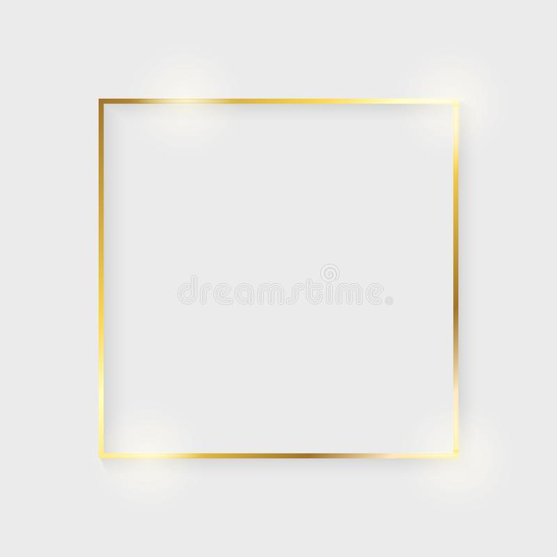 Golden luxury shiny glowing vintage frame with shadows. Isolated on white background gold border decoration – vector vector illustration