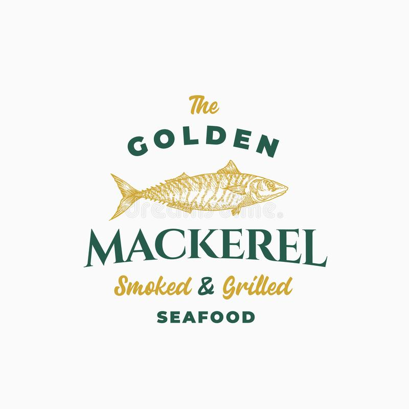 Golden Mackerel Smoked and Grilled Seafood. Abstract Vector Sign, Symbol or Logo Template. Hand Drawn Mackerel Fish with. Classy Retro Typography. Premium vector illustration