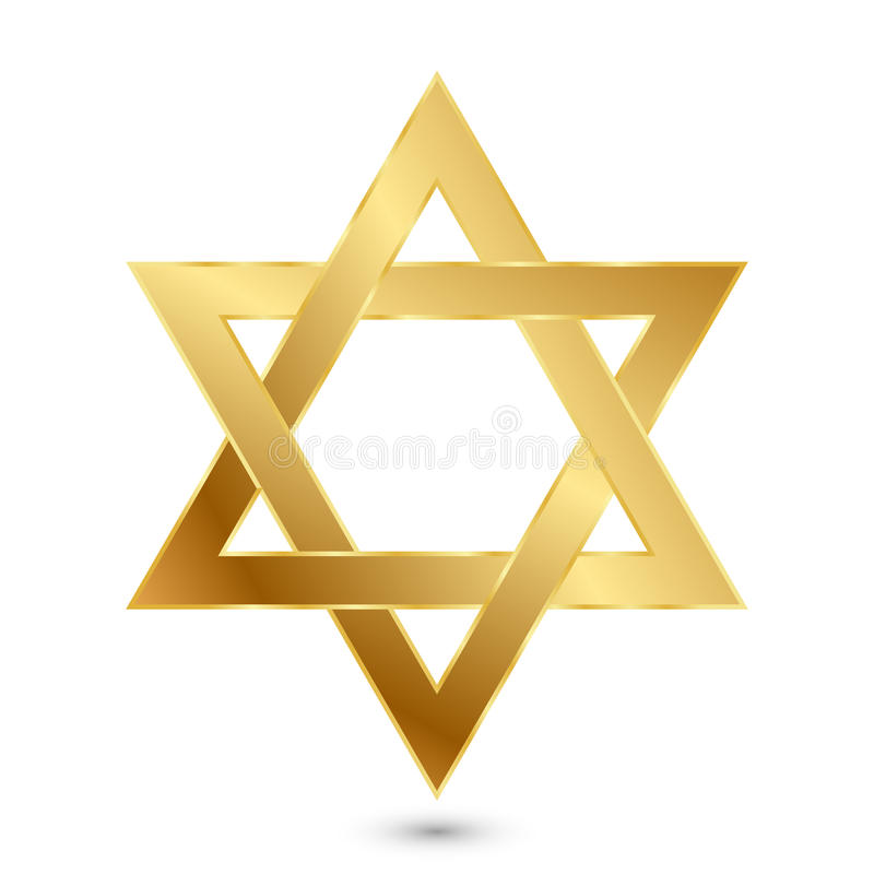 Golden Magen David (star of David). Vector illustration of golden Magen David (star of David stock illustration