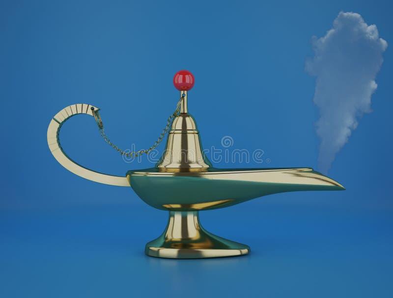 Golden magic Aladdin Lamp 3d rendering on a blue background. The magic aladdin lamp 3d rendering royalty free illustration