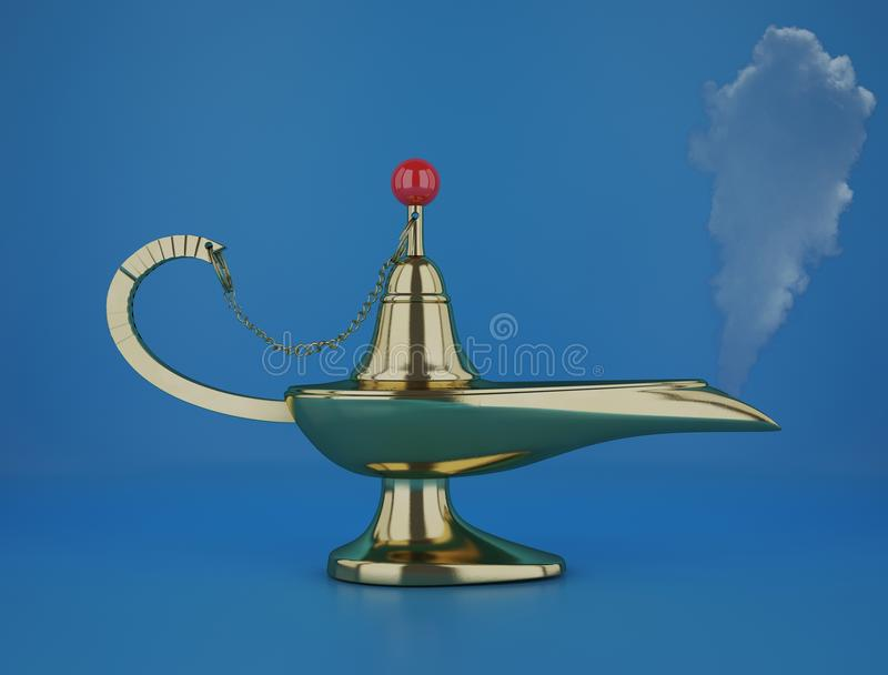 Golden magic Aladdin Lamp 3d rendering on a blue background. The magic aladdin lamp 3d rendering stock illustration