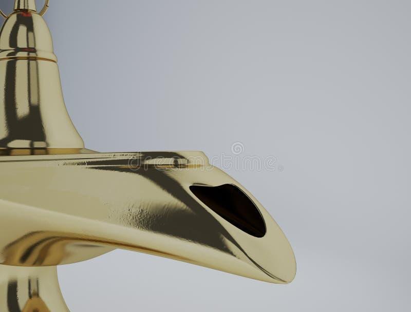 Golden magic Aladdin Lamp on a white background. The magic aladdin lamp 3d rendering vector illustration