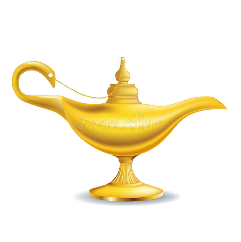 Golden magic lamp royalty free illustration