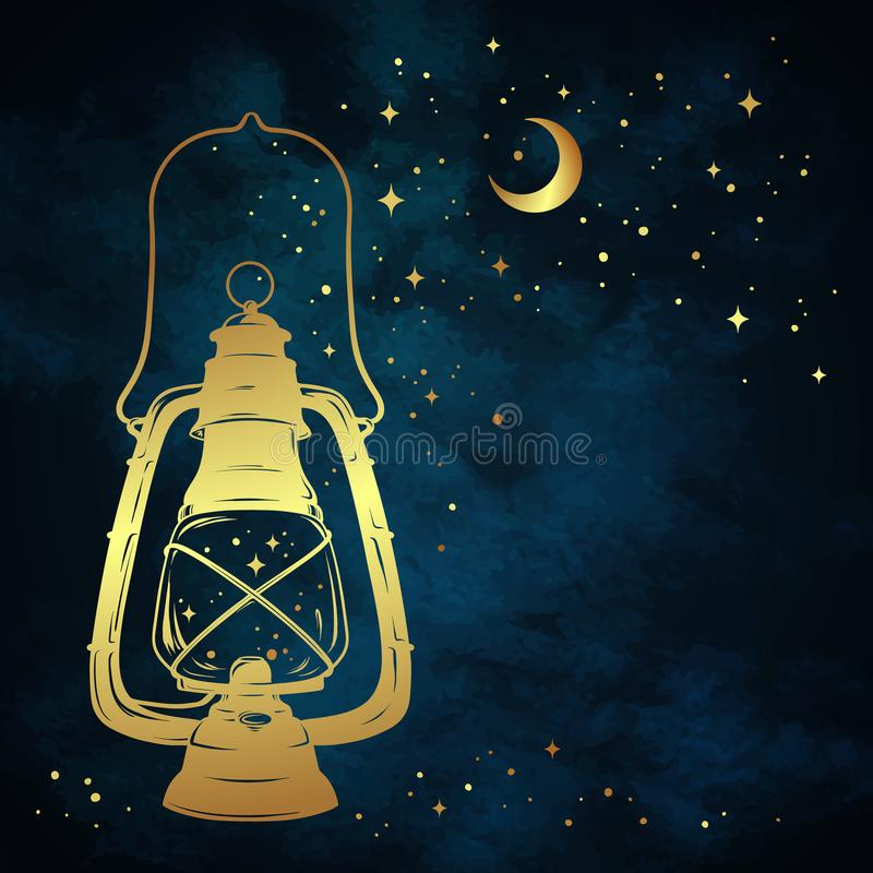 Golden magic oil lantern or kerosene lamp over blue night sky background with gold moon and stars hand drawn vector illustration. royalty free illustration