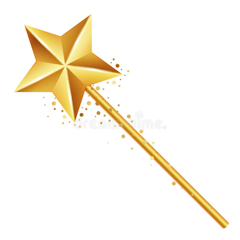 Golden magic wand royalty free illustration