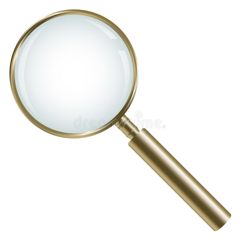 Golden magnifying glass isolated royalty free illustration
