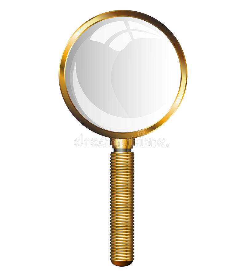 Golden Magnifying Glass. Transparent loupe on a white background. Isolated illustration. Golden Magnifying Glass. Transparent loupe on a white background royalty free illustration