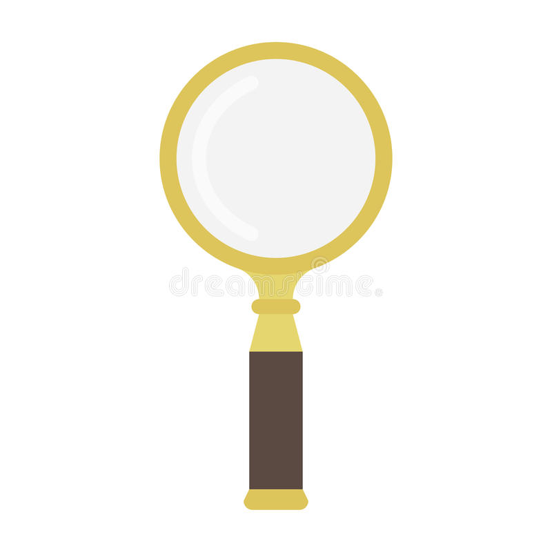 Golden magnifying glass. Vector icon isolated on white vector illustration