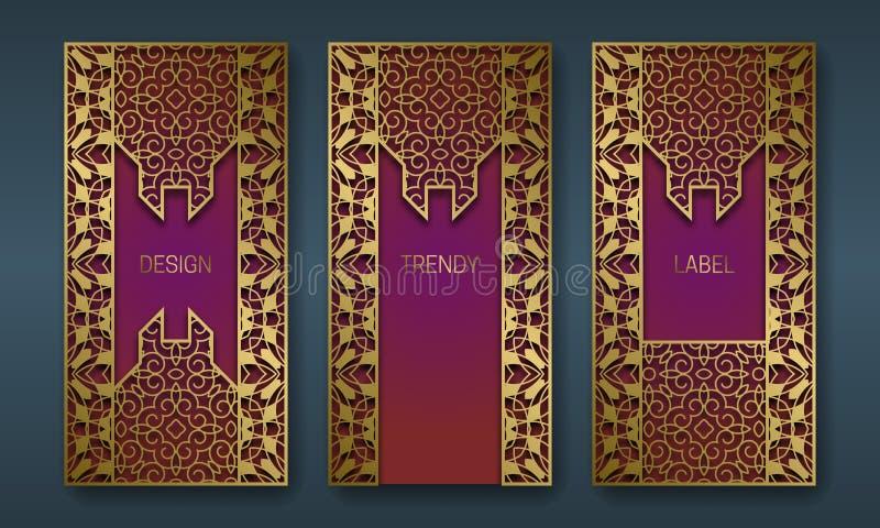 Golden majestic packaging design series. Set of labels templates with vintage patterned frames.  stock illustration