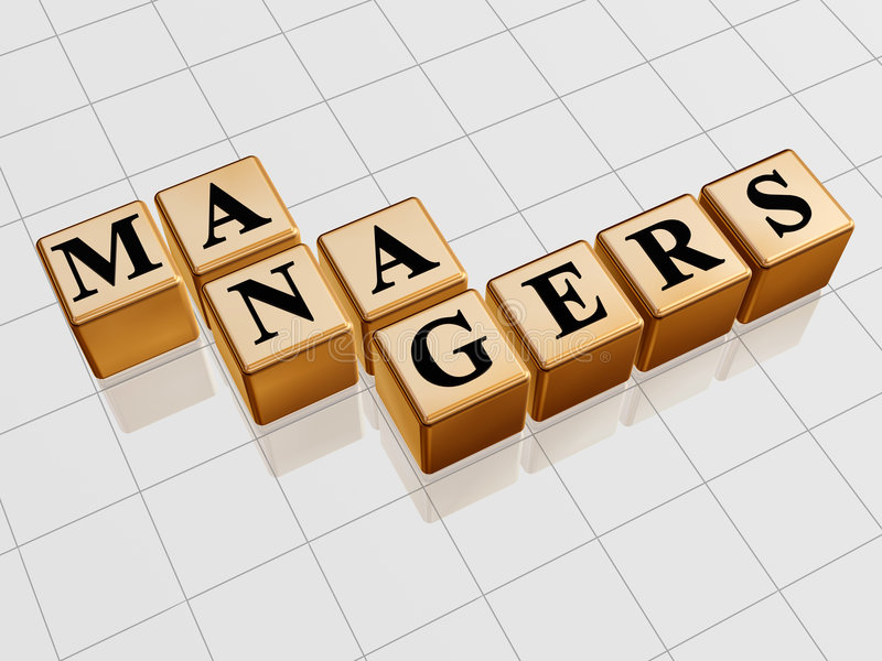 Golden managers. 3d golden boxes with text - managers, word stock illustration