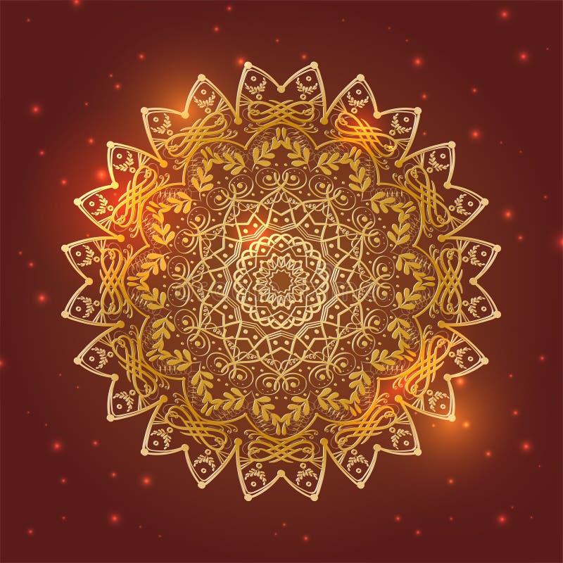Golden mandala floral circle symbol with shiny lights stock illustration