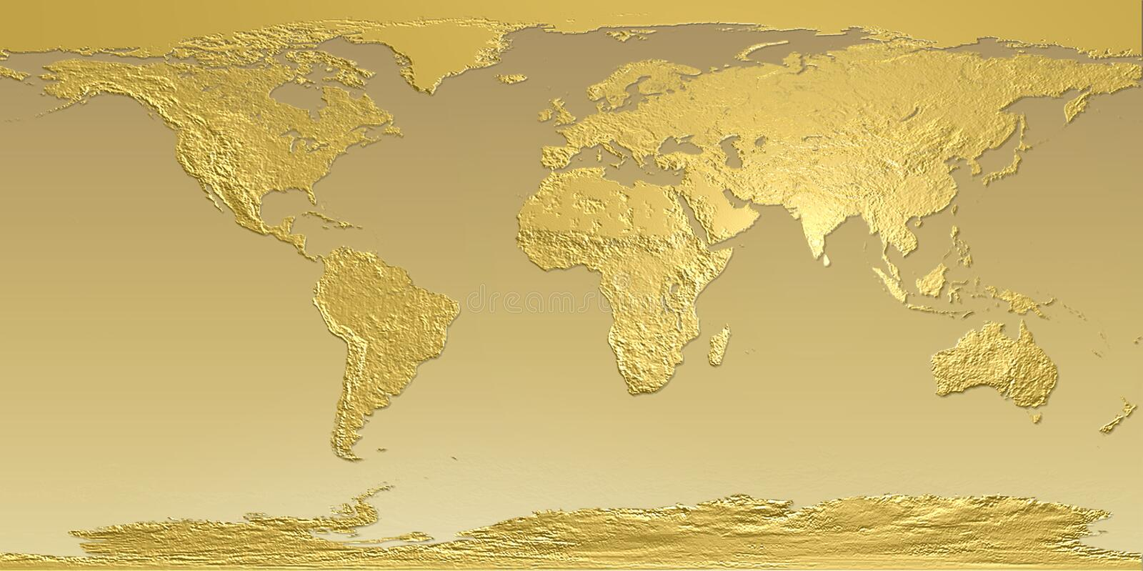 Golden map of Earth stock photo