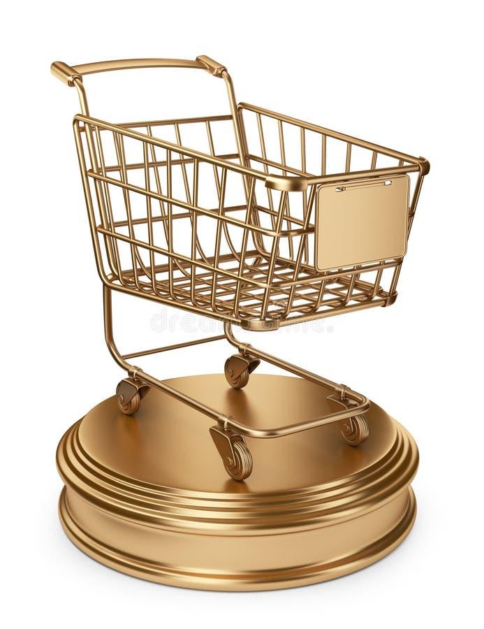 Golden Market cart. Best Sellers concept. 3D Isolated vector illustration