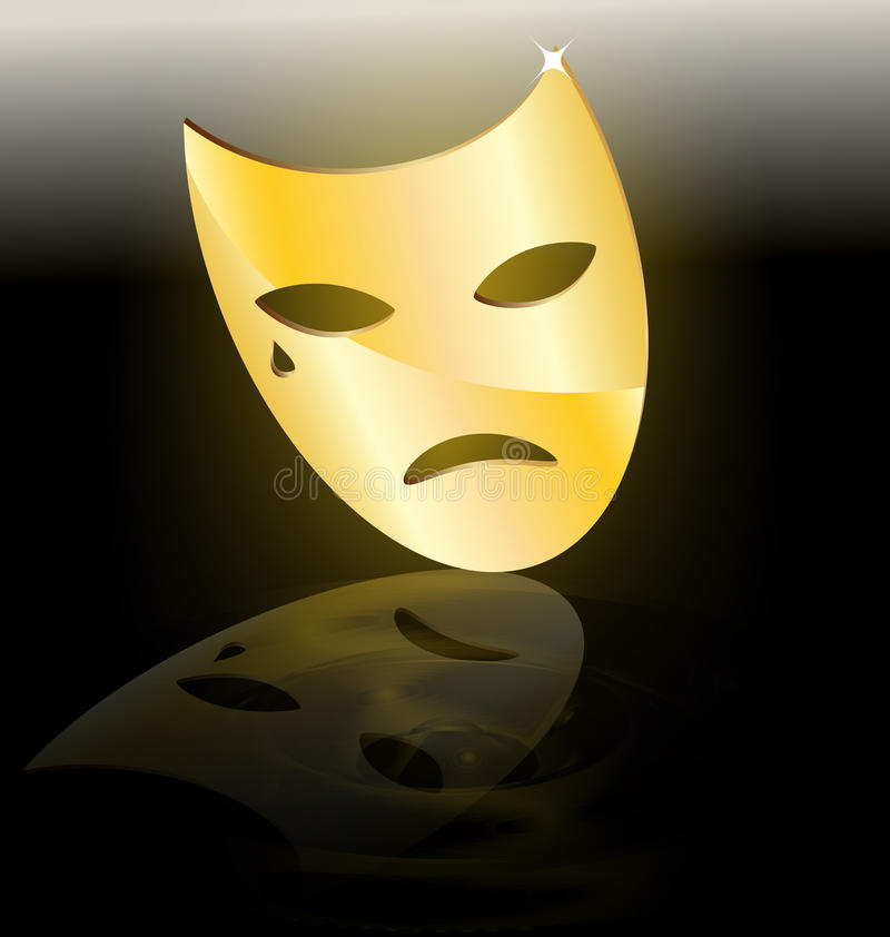 Download Golden mask of tragedy stock vector. Image of performance - 19419186