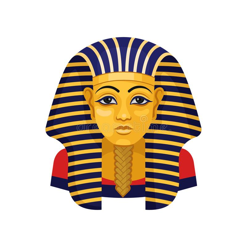 Golden mask of Tutankhamun. Pharaoh of ancient Egypt. Flat vector for advertising poster or flyer of travel agency vector illustration
