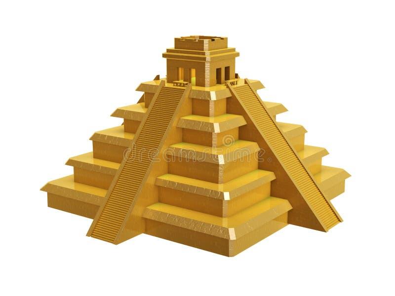 Golden mayan pyramid stock illustration