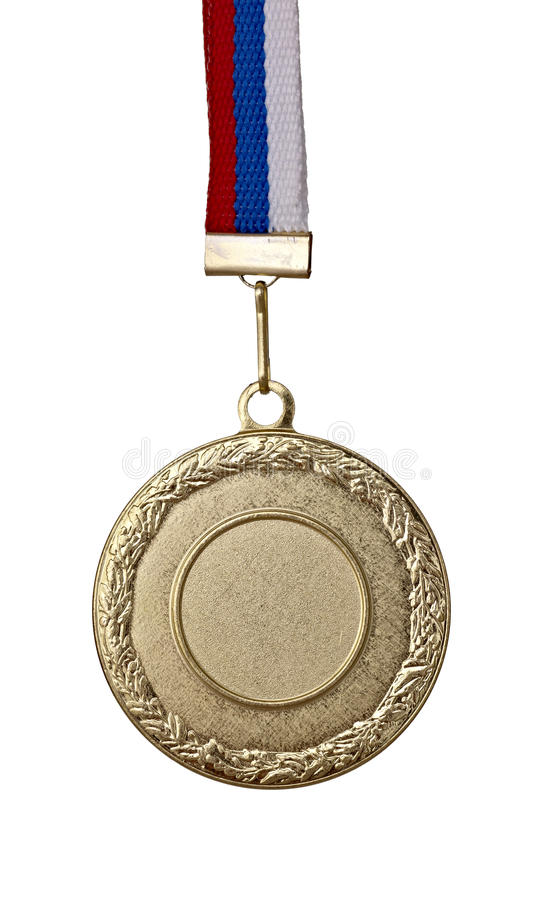 Golden medal. Close up of golden medal on white background with clipping path stock photography