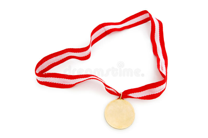 Golden Medal Isolated On The White Royalty Free Stock Photo