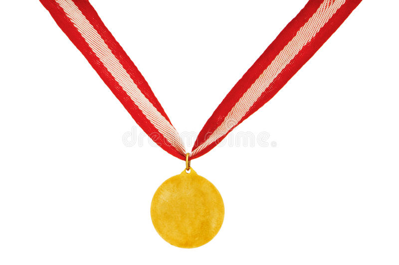 Golden Medal Isolated On The White Royalty Free Stock Photography
