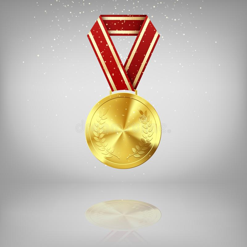 Golden medal with laurel and red ribbon. Gold award symbol of victory and success. Golden Medal on grey background with reflection vector illustration