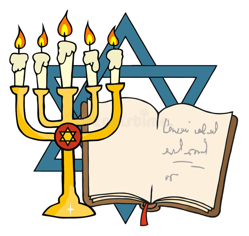 Golden menorah and book. In front of the star of david vector illustration
