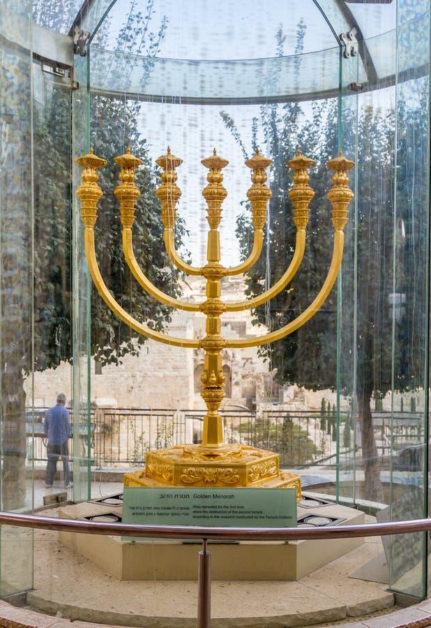 Golden Menorah Old City Of Jerusalem Israel Editorial