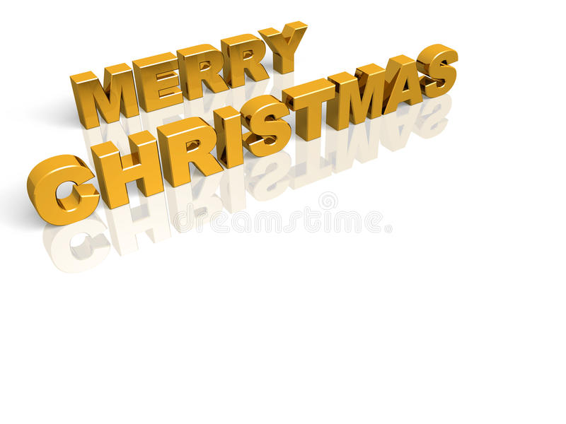 Golden Merry Christmas. Merry Christmas. Golden words over a red background vector illustration