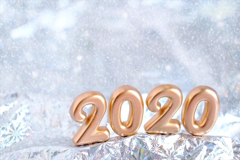 2020 golden Merry christmas and Happy New Year design banner. Blurred silver snow background. greeting card template christmas and stock photo