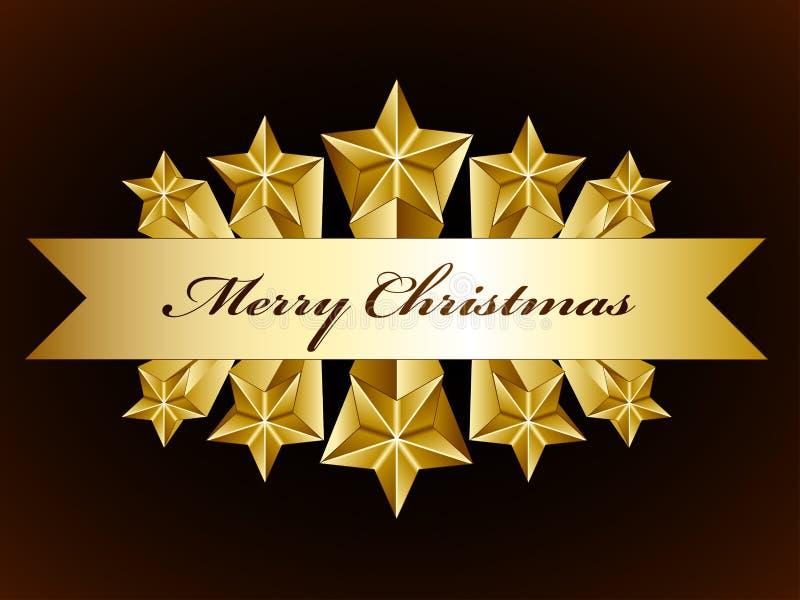 Golden merry christmas stars label vector illustration