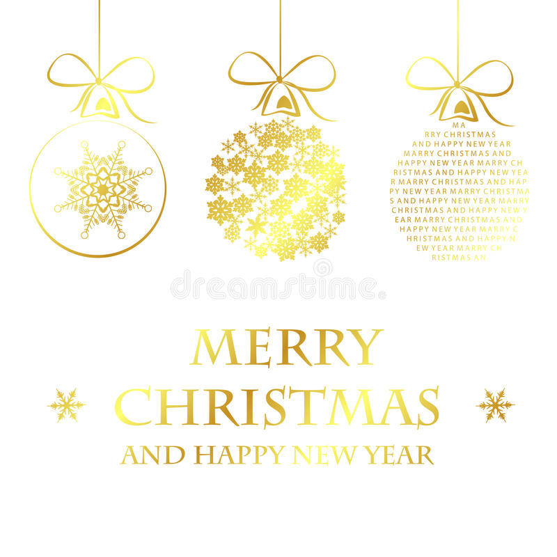 Golden merry christmas template royalty free illustration