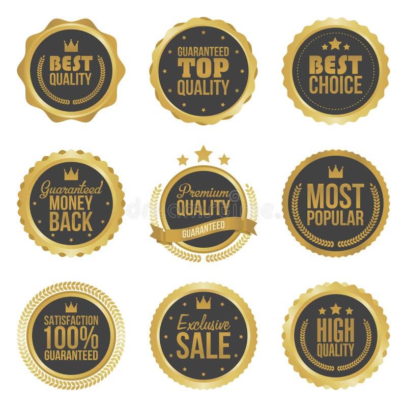 Golden metal best choice premium quality badges set isolated illustration stock illustration