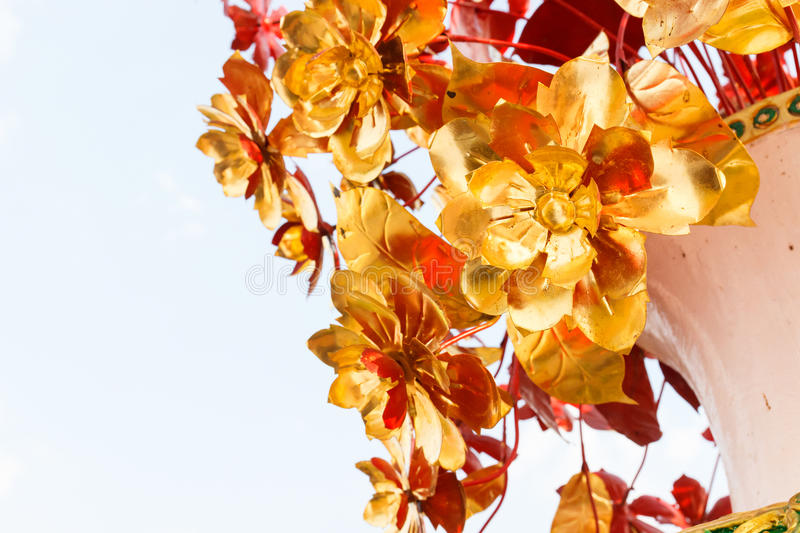Golden Metal Flower Bouquet Stock Photo - Image of decoration ...