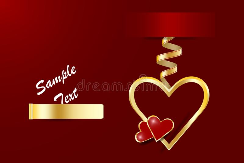 Golden metal frame heart with two little red hearts vector illustration