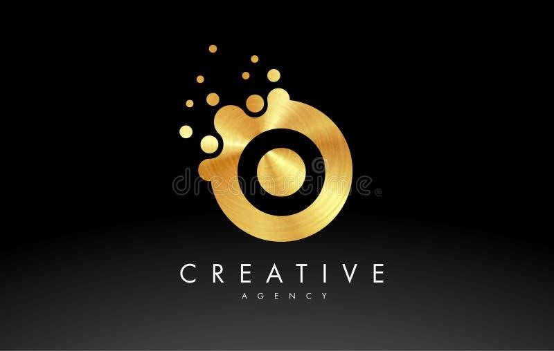Golden Metal Letter O Logo. O Letter Design Vector royalty free illustration
